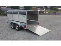 10x5 TWIN WHEEL LIVESTOCK 3 in 1 GALVANISED TRAILER HAS REMOVABLE MESHSIDES RAMP & CANOPY