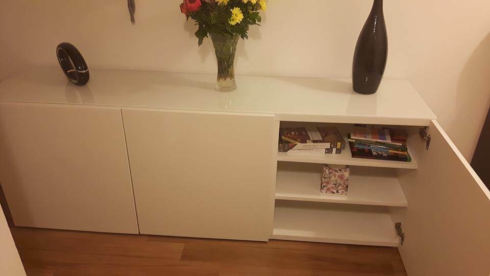Elegant Ikea Besta Glasstop Sideboard / TV Stand and Storage Unit