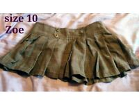 Brown/beige tartan skirt short, size 10