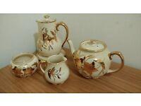 sadler leaf cream teapots, sugar bowl and milk jug