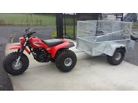 OFF ROAD GALVANISED QUAD TRAILER MESHSIDE & RAMP LED LIGHTS GATE SUZUKI ATC HONDA YAMAHA TRACTOR ATV