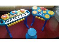 kids keyboard, drums and stool set