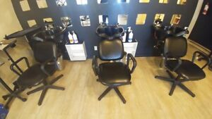 2 salon sinks with chairs