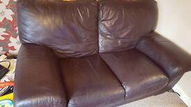 2 x Dark Brown Leather Sofa's