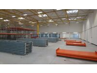 PALLET RACKING MINT CONDITION 5.5m x 1.1m FRAMES AND 3.3M xl BEAMS , THE CHEAPEST IN THE UK
