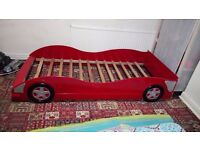 Racing car bed for kids with mattress