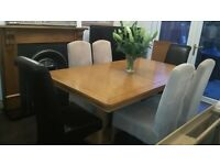 L@@K **Cousins** Heavy Oak Table and Six Chairs. *Investment Furniture*