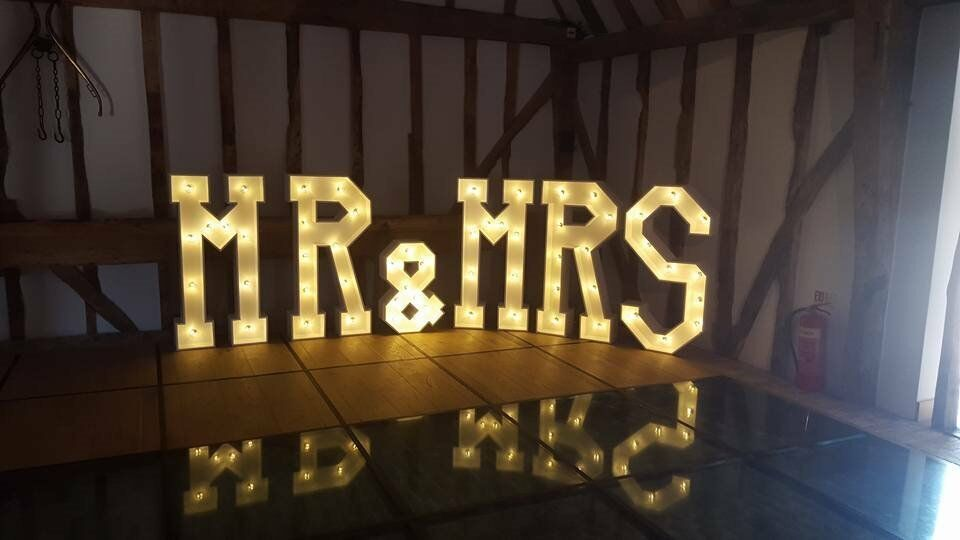 Hire our stunning 4ft Light up' MR & MRS' letters, add the WOW Factor to your wedding day £150