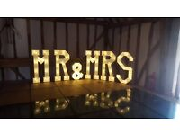 Hire our stunning 4ft ' MR & MRS' Light up letters, add the WOW Factor to your wedding day £130