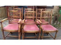 6 dining chair, solid oak, spindle back, carved, clean cushion, 2 carver, VGC, no table