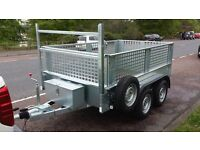 TWIN WHEEL GALVANISED CAR TRAILER WITH MESHSIDES & RAMP DOOR. HAS AUTO-REVERSE BRAKING HITCH