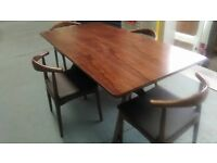 stylish darkwood dining table and 4 chairs