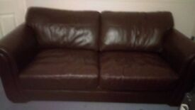 SETTEE'S 1 FOUR SEATER AND 1 THREE SEATER GOOD QUALITY BROWN LEATHER VERY GOOD CONDITION