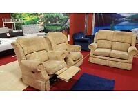 cheap 3 piece fabric suite with 1 reclining armchair