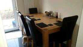 Large Solid Oak Modern Dining Table