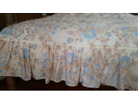 Beautiful quilted king-size bed throw, beige/ cream/ light blue BARGAIN :)