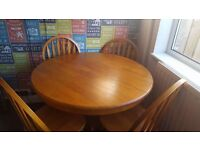 Antique Pine Extending Table & 4 Chairs