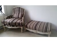 French shabby chic, bergere, Louis style armchair and footstool, like Laura ashley