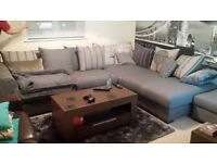 DFS Voyage Large Grey Left Handed L shape sofa with matching foot stool
