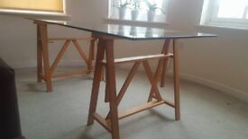 Dinner table or Office Desk with Tristle Legs and Glass Top 180x82