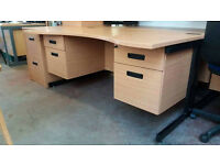 Curved office desk with fitted pedestals