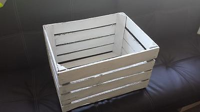 Large Rustic, White Stain Wooden Apple Crate Storage Box (Vintage Style)