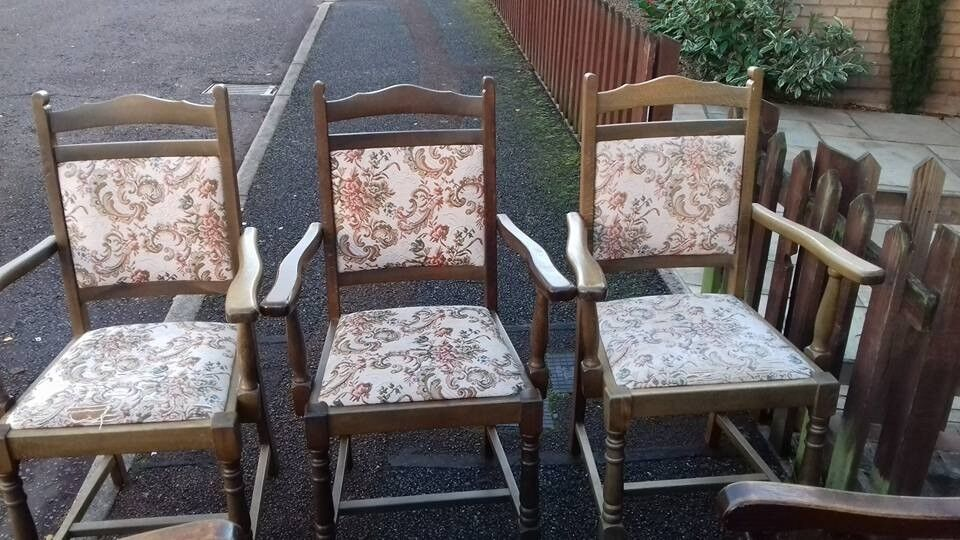 3 dining chair,solid oak,carve leg & back,3