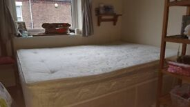 Standard sized double bed (mattress and base) + single bed base