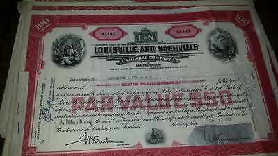 Louisville and Nashville Railroad Co Stock Certificate 100 shares 1960's-70's