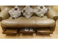 Beige Italian leather settee and reclining chair