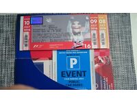 F1 Grand Prix 2016 Silverstone 2 x weekend tickets (reserved seats at Club Corner) plus parking