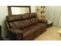 3 seat leather sofa with 2 fully reclining seats dfs (can deliver locally)
