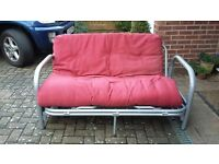 WELL MADE GREY METAL FRAMED PULL OUT SOFA BED WITH MATTRESS
