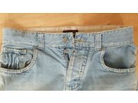 Mens Jeans W34 Reg Monsoon Light Blue with Ripped Detailing