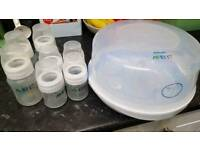 Phillips Avent microwave steriliser with bottles