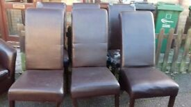 6 dining chairs,3 are good physical condition but 3 wobbly,faux leather broken