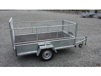 VERY STRONG GALVANISED TRAILERS WITH MESHSIDES & RAMP DOOR LED'S SPARE WHEEL LOCK JOCKEY PROP STAND