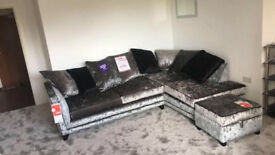 Grey/Silver crushed velvet corner sofa with matching armchair