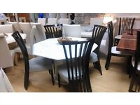 beautiful bianca marble dining table & 4 dali chairs
