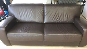 Dark Brown Leather Sofa - 3 Seater - 3.5 years old Warwick Joondalup Area Preview