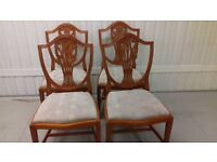 4 dining chairs,Victorian style,Yew wood,carved back,stable, 3 chairs wobbly, no table