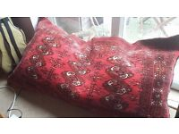 Beautiful large Turkoman floor cushion. Fine Carpet weave on front and kilim weave on reverse.