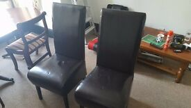 Leather Dining Chairs x2