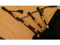 Vintage ivory and engraved MacDougall bagpipes
