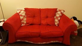 Two Red Two Seater Sofas REDUCED from £400 NOW £100