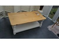 Farmhouse solid pine shabby chic coffee table