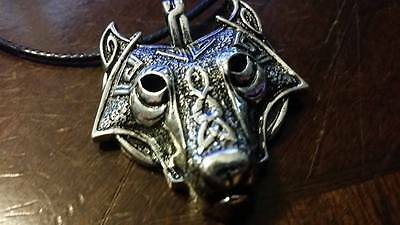 Viking Fenrir Wolf head runic pendant w necklace Norse Odin Valhalla Thor