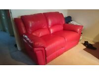 Red genuine leather recliner sofas set