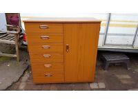 Brown Schreiber cupboard / chest of drawers unit. Good condition.