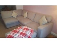 Corner Sofa with Pouffe Barley (grey) coloured. Right hand facing as you sit. 15 months old
